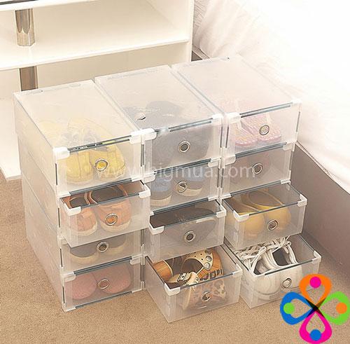 25k hộp đựng giày nhựa trong suốt có ngăn kéo đẹp mắt tiện dụng