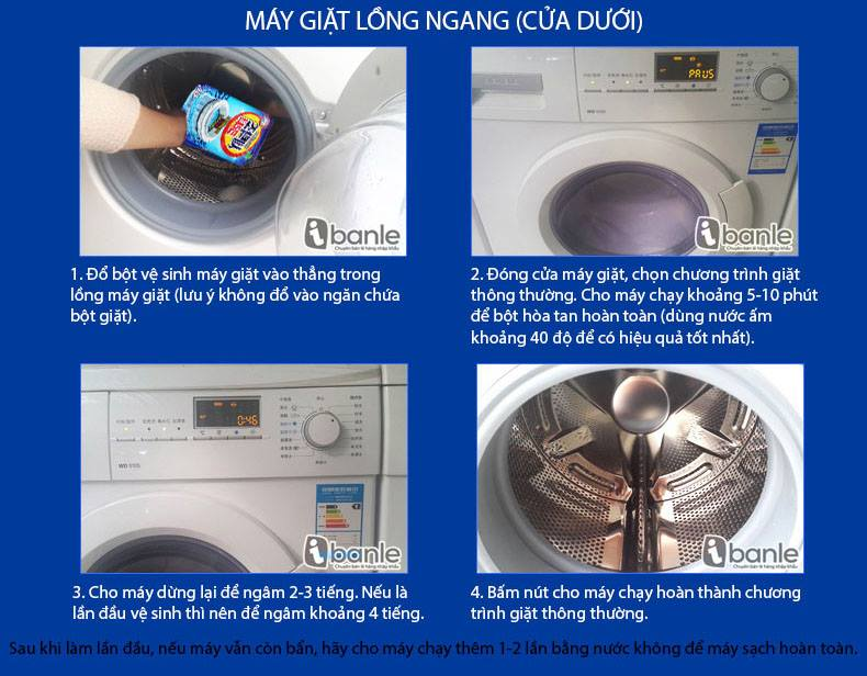 Hướng dẫn sử dụng bột tẩy máy giặt cửa ngang