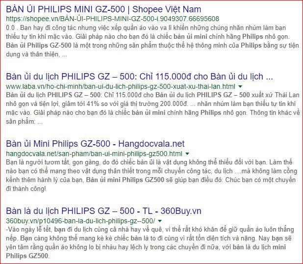 Nhiều trang bán bàn ủi du lịch Philip Gz 500
