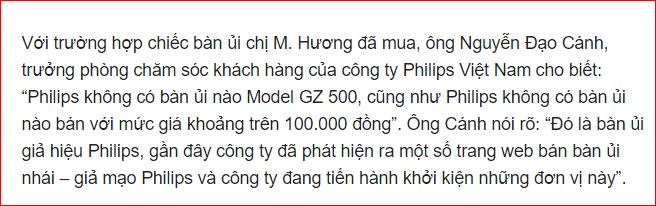 Phản hồi từ đại diện Philip về bàn ủi du lịch Philips Gz 500