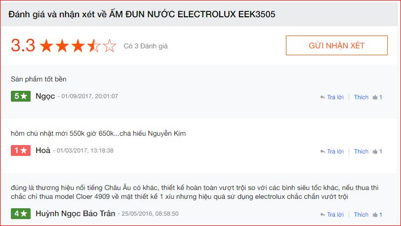 Nhận xét ấm đun siêu tốc ELECTROLUX EEK3505 trên Nguyễn Kim