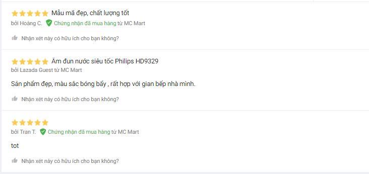 Nhận xét người dùng bình đun siêu tốc Philips