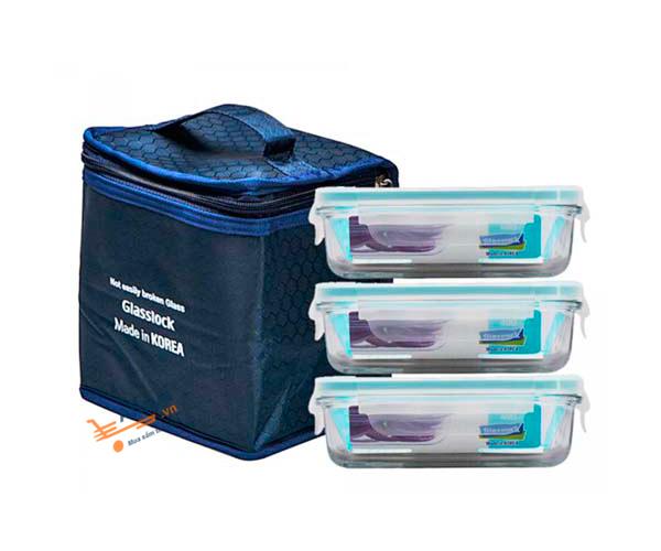 Bộ ba hộp thủy tinh Glasslock HPL 03 Túi giữ nhiệt – 400ML