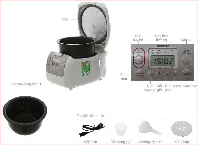 Các chức năng nồi cơm điện Toshiba Rc 10nmf 1 lít