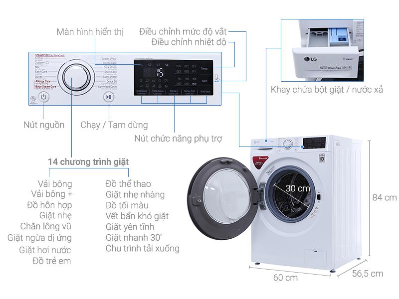 Chức năng Máy Giặt Cửa Ngang Inverter LG FC1408S4W2 8kg