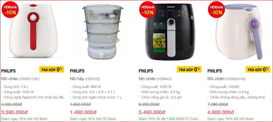 Giá nồi chiên chân không Philips trên Nguyen kim