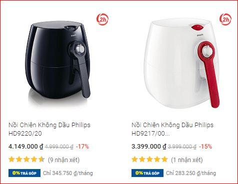 Giá nồi chiên không dầu Philips trên Tiki
