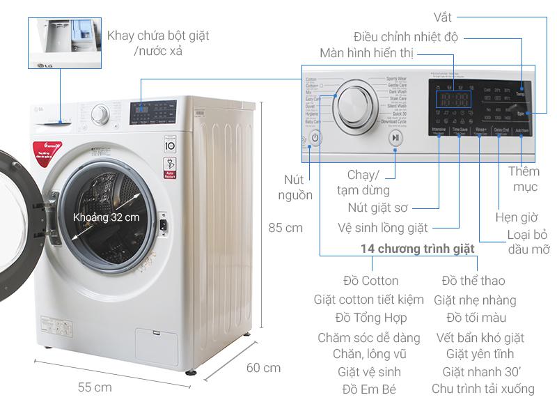 Máy giặt LG có nhiều chế độ giặt khác nhau