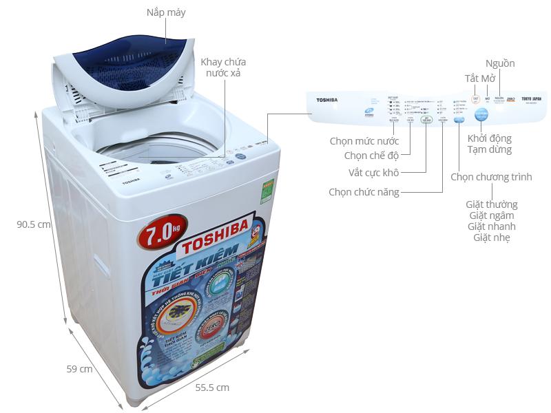 Máy giặt Toshia đơn giản dể sử dụng nồi đồng cối đá