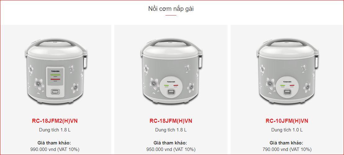 Nồi cơm điện nắp gài chính hãng trên trang web Toshiba Việt Nam