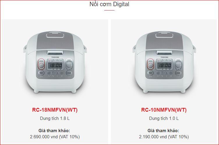 Nồi cơm điện tử chính hãng trên trang web Toshiba Việt Nam