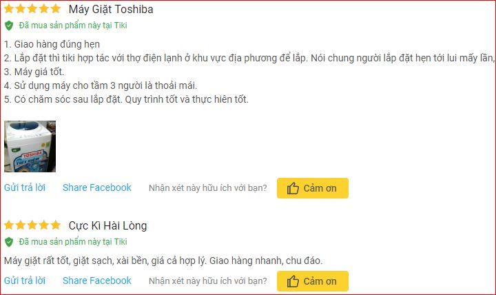 Nhận xét Máy Giặt Cửa Trên Toshiba AW A800SV 7kg trên Tiki