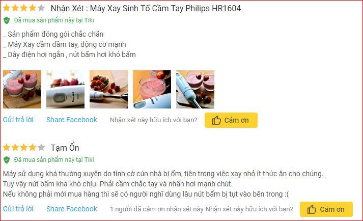 Nhận xét Máy Xay Sinh Tố Cầm Tay Philips HR1604 trên Tiki