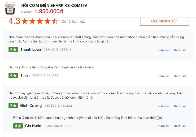 Nhận xét của người sử dụng nồi cơm điện tử Sharp Ks com19v
