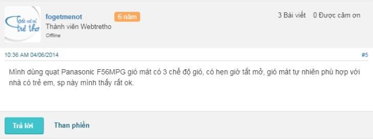 Review của người dùng về quạt trần Panasonic F56MPG