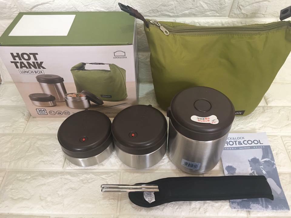 bộ hộp cơm giữ nhiệt LockLock mushroom Ihc8025slv 1