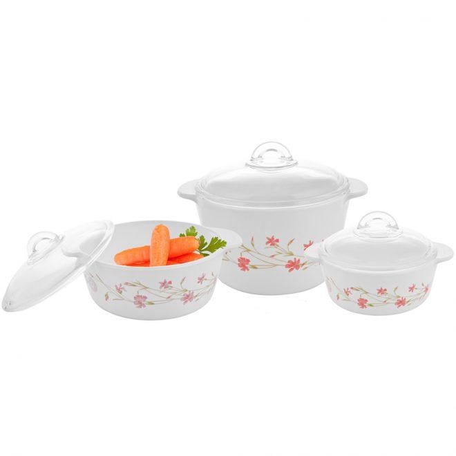 Bộ 3 Nồi Thủy Tinh Luminarc Vitro Romance Pink 1l, 2l, 3l Cực Xinh Cho Gia đình