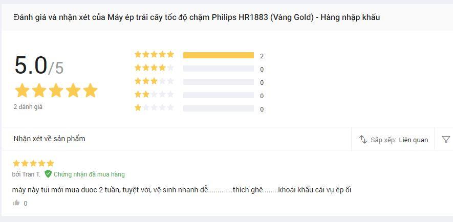 Nhận cét về máy ép chậm Philips