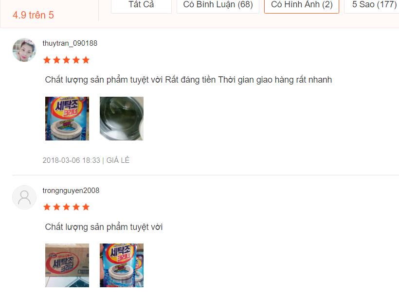 nh giá bột vệ sinh máy giặt Hàn Quốc trên shopee