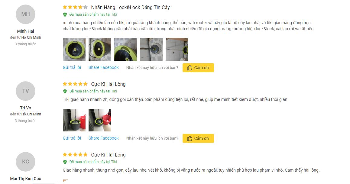 nh giá của khách hàng ở Tiki về bộ cây lau nhà xoay tay mini Ettom LockLock bằng thép không gỉ Xám đen
