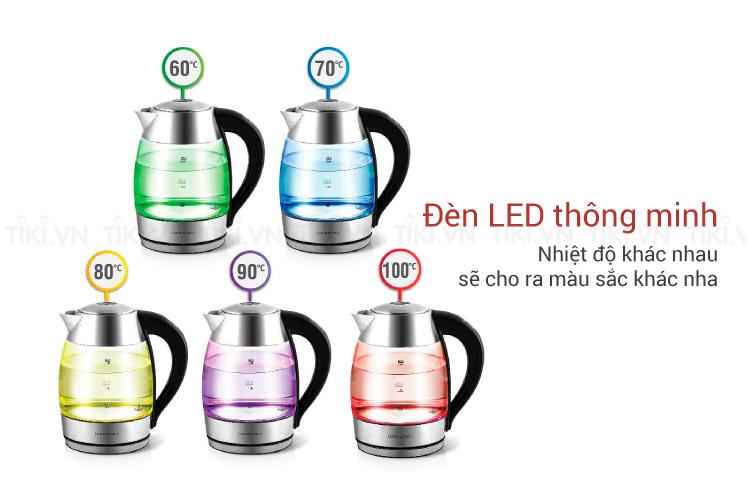 m Điện Thủy Tinh Siêu Tốc Có Điều Chỉnh Nhiệt Độ LockLock EJK341 1.8L đèn LED 1