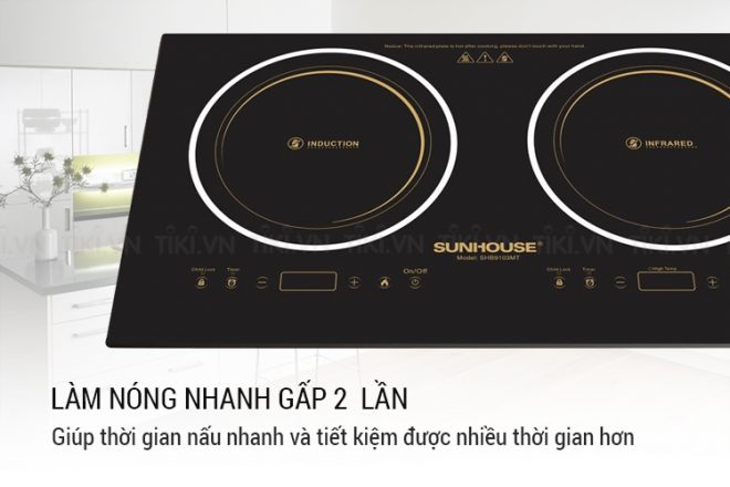 Bếp Đôi Điện Từ Hồng Ngoại Sunhouse SHB9103MT