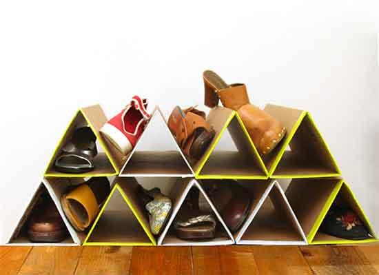tự tay thiết kế kệ đựng giày bằng bìa carton