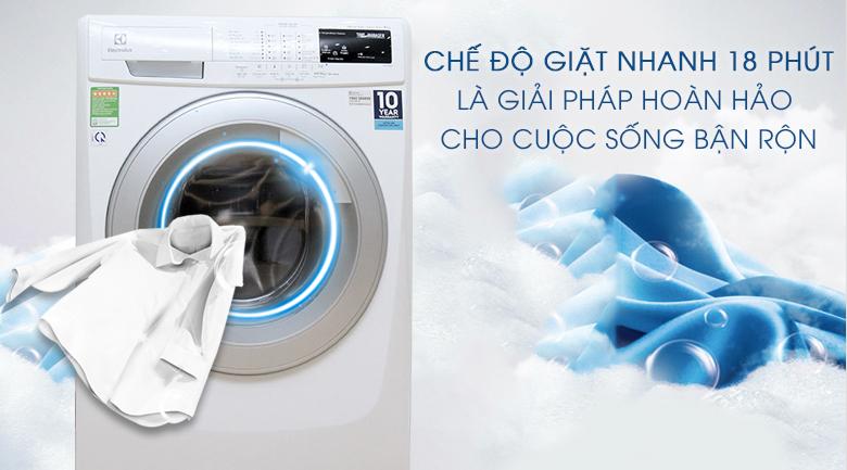 Chế độ giặt nhanh 18 phút thích hợp giặt với 2 kg đồ mỏng nhẹ