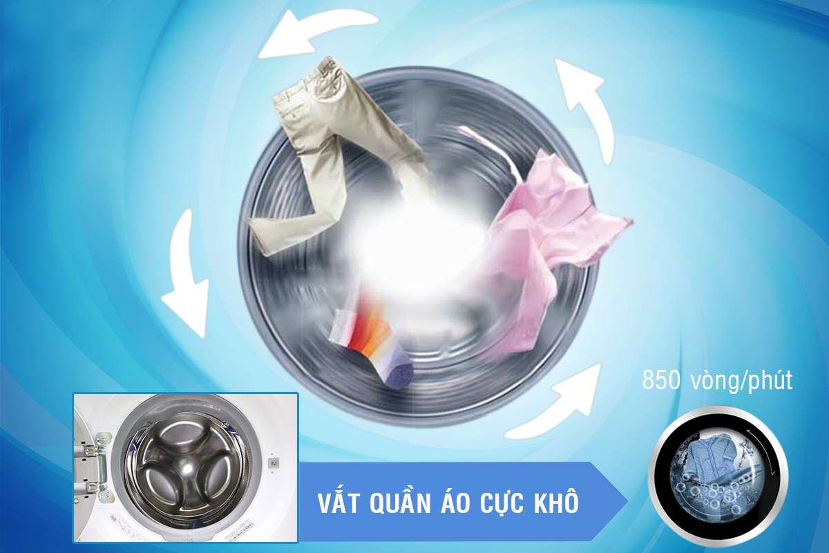 Tốc độ vắt cao khiến quần áo giặt nhanh và mau khô hơn