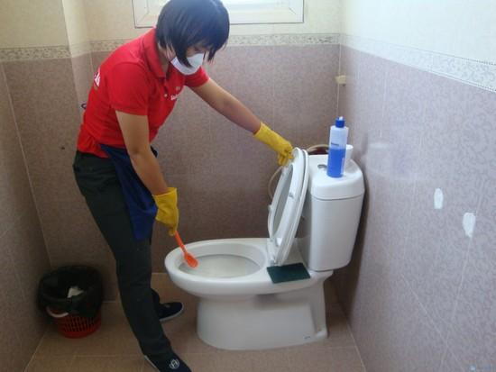 dùng chổi cọ toilet