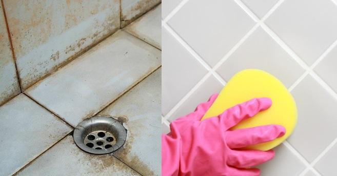 chùi rửa vết bẩn giữa kẽ hở viên gạch