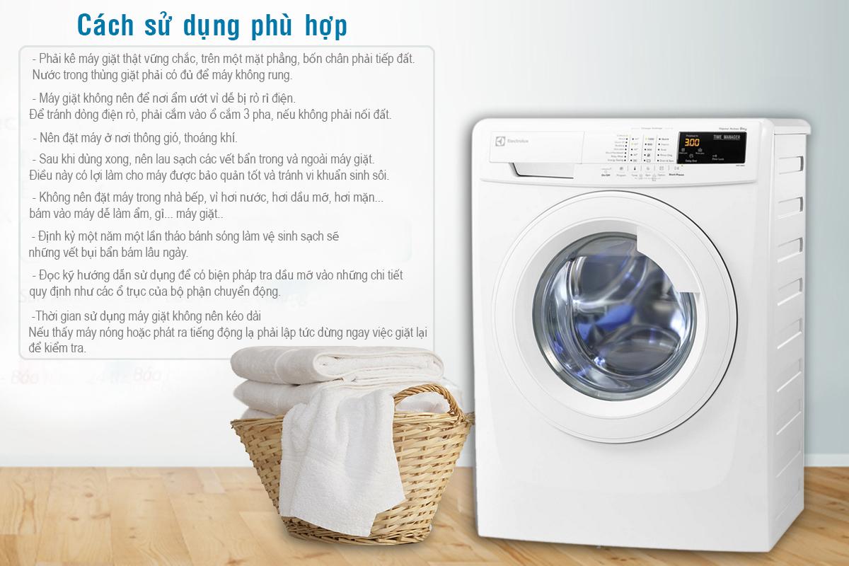 chú ý cách sử dụng máy giặt cửa ngang Electrolux EWF80743