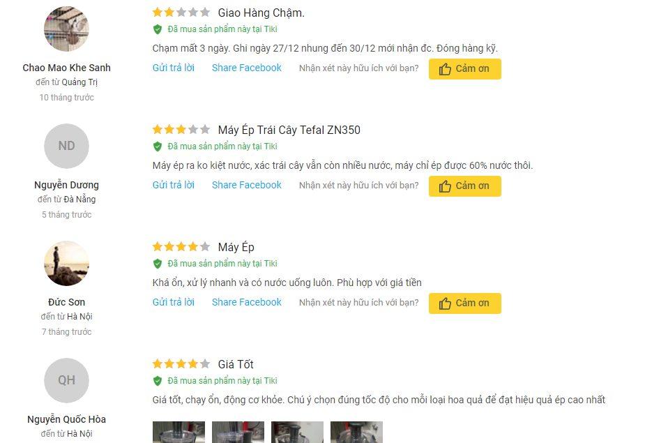 Khách hàng có nhiều ý kiến phản hồi về chất lượng sản phẩm