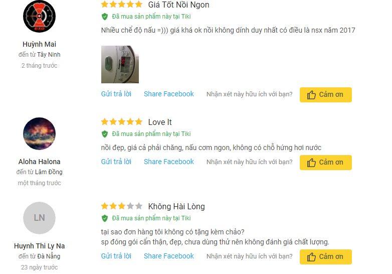 Người dùng đánh giá nồi KG565 trên Tiki