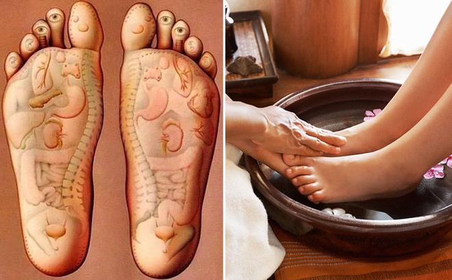 Lòng bàn chân, đôi bàn chân, bắp chân là vị trí cần massager