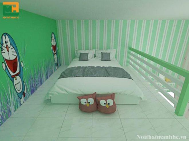 phòng trọ màu xanh lá đẹp