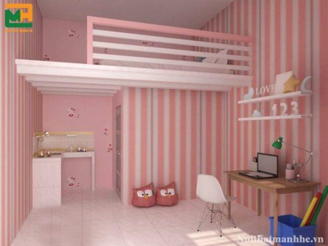 phòng trọ màu hồng đẹp