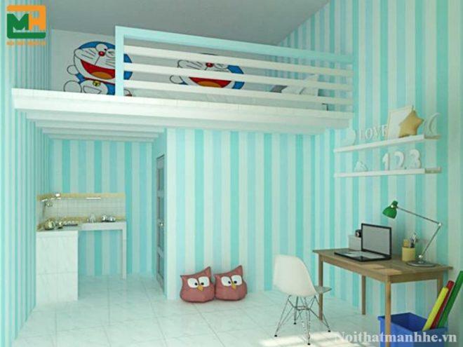 mẫu trang trí phòng trọ màu xanh dương đẹp