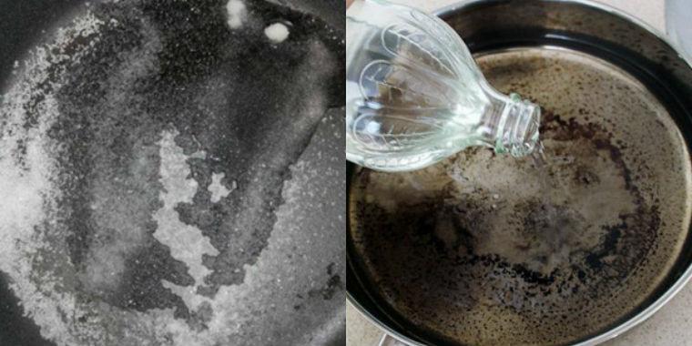 Sử dụng giấm và nước cho chảo nhôm