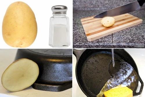 Khoai tây khắc phục chất bẩn bám trên nồi và chảo