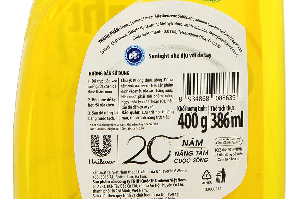 Thông tin sản phẩm in trên chai
