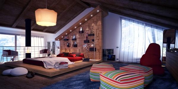 Thiết kế một giường bệt tại trung tâm và giá sách ở cạnh tườn