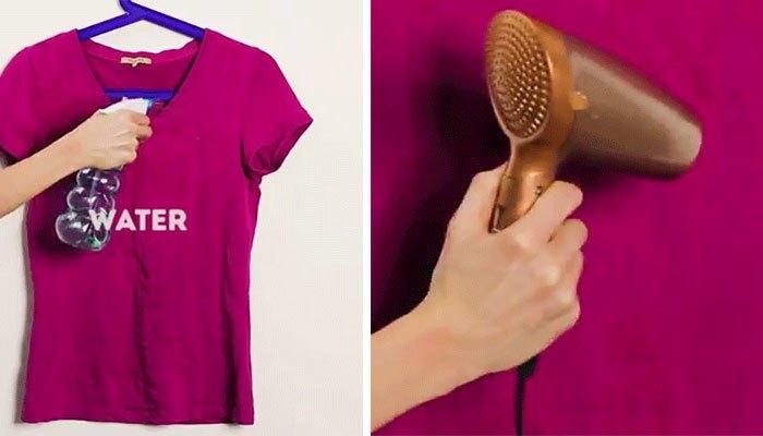 Bạn có thể tận dụng máy sấy tóc làm thẳng quần áo thay cho bàn ủi, vừa tiện lợi lại không mất nhiều thời gian