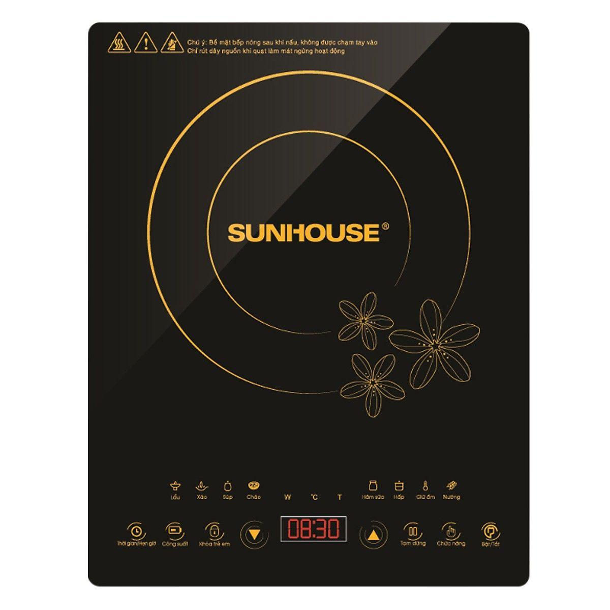 Bếp điện từ Sunhouse với thiết kế nhỏ gọn, màu sắc hiện đại, thích hợp cho mọi gia đình và cả những người đi xa