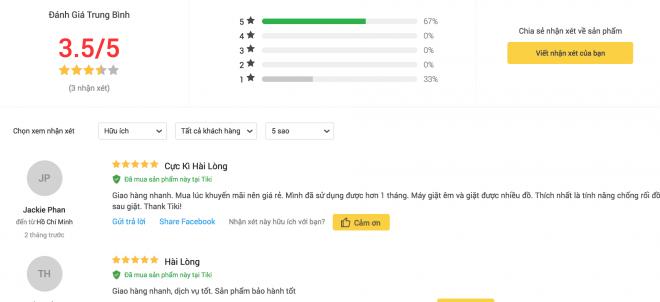 Đánh giá của người dùng về máy giặt Cửa Trên Samsung WA85M5120SW/SV.