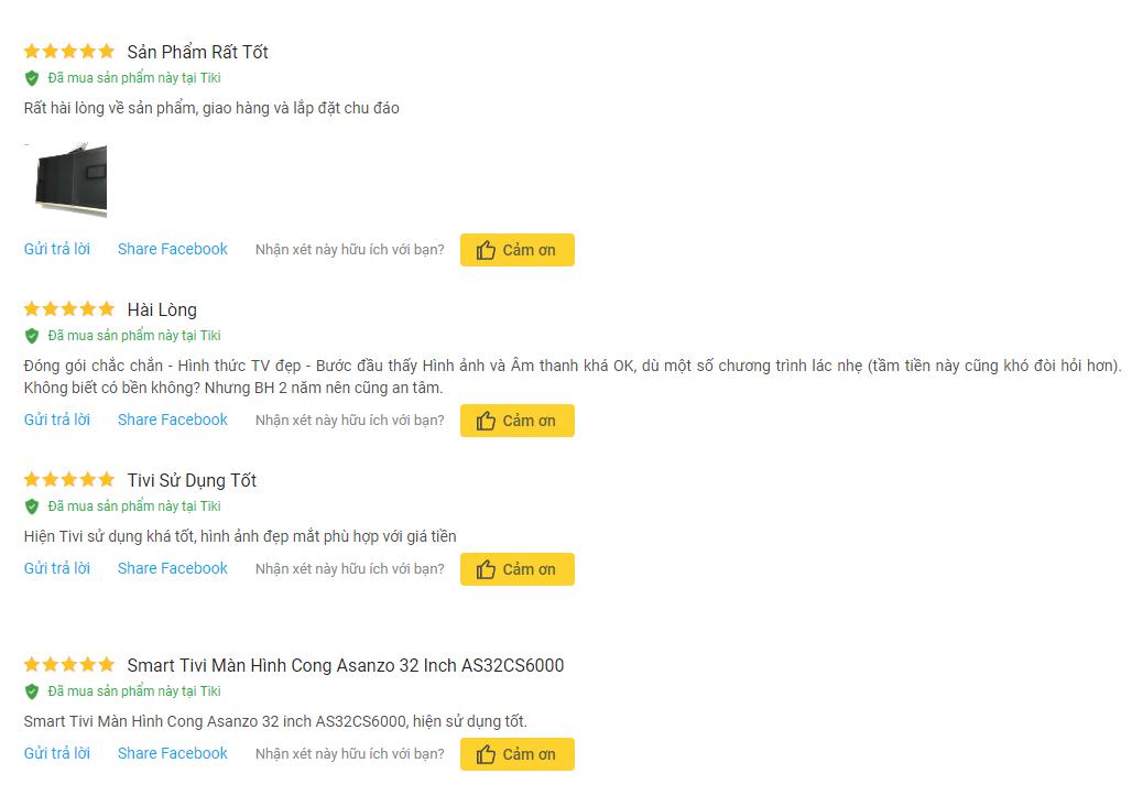 Đánh giá của người dùng trên Tiki.