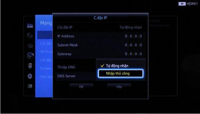 """Ấn vào thiết lập """"DNS"""" -> chọn Nhập thủ công."""
