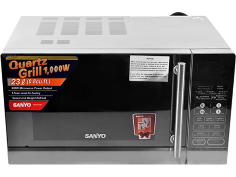 Lò Vi Sóng Sanyo EM- G3730V hoạt động mạnh với công suất cao, giúp thức ăn nhanh chín, tiết kiệm được nhiều điện năng và thời gian vào bếp.
