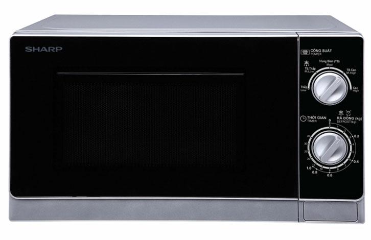 Lò vi sóng Sharp có màu sắc xám bạc tinh tế, hiện đại, phù hợp với mọi căn bếp. Thiết kế cửa mở bằng nút nhấn tiện dụng, đây là loại bếp khá được ưa chuộng.