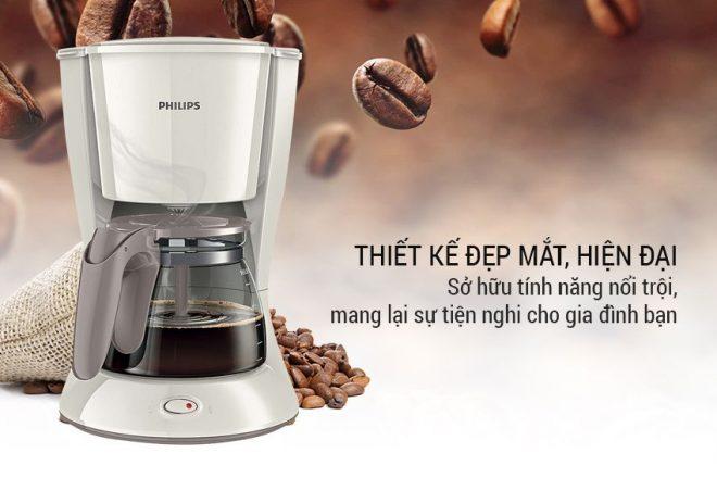 Máy pha cà phê Philips thiết kế hiện đại với các chỉ báo mức nước vô cùng tiện lợi và dễ sử dụng